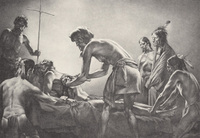 Cabeza de Vaca Performing the First Recorded Surgical Operation on the North American Continent by Tom Lea. Courtesy of the Moody Medical Library, The University of Texas Medical Branch at Galveston