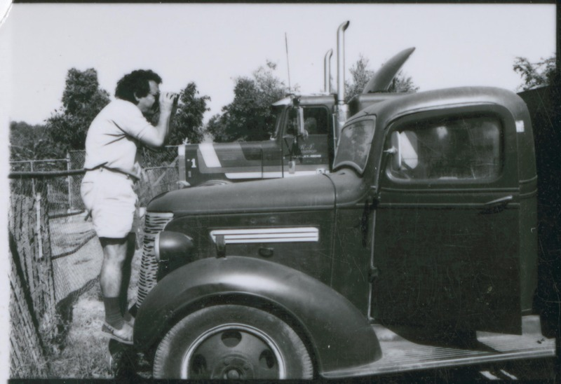 Severo Perez scouts locations and possible shots. <br /><br /> Photograph by Carlos Rene Perez. Severo Perez Papers, Wittliff Collections, Texas State University.