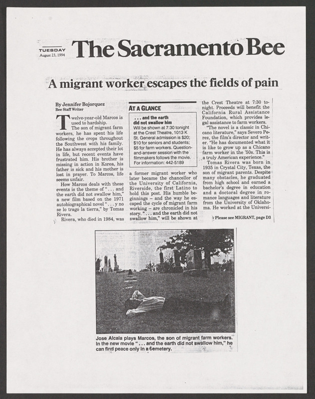 Sacramento Bee review. <br /><br /> Severo Perez Papers, Wittliff Collections, Texas State University.