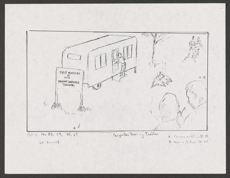 Severo Perez&#039;s storyboard as Marcos reaches the door of the carpenter&#039;s trailer. <br /><br /> Severo Perez Papers, Wittliff Collections, Texas State University.