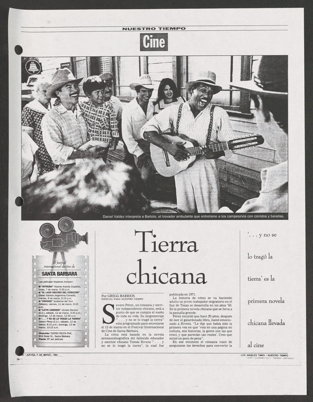 Nuestra Tiempo review. <br /><br /> Severo Perez Papers, Wittliff Collections, Texas State University.