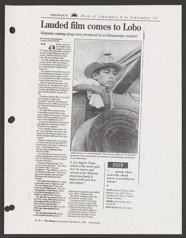 Albuquerque Journal review. <br /><br /> Severo Perez Papers, Wittliff Collections, Texas State University.