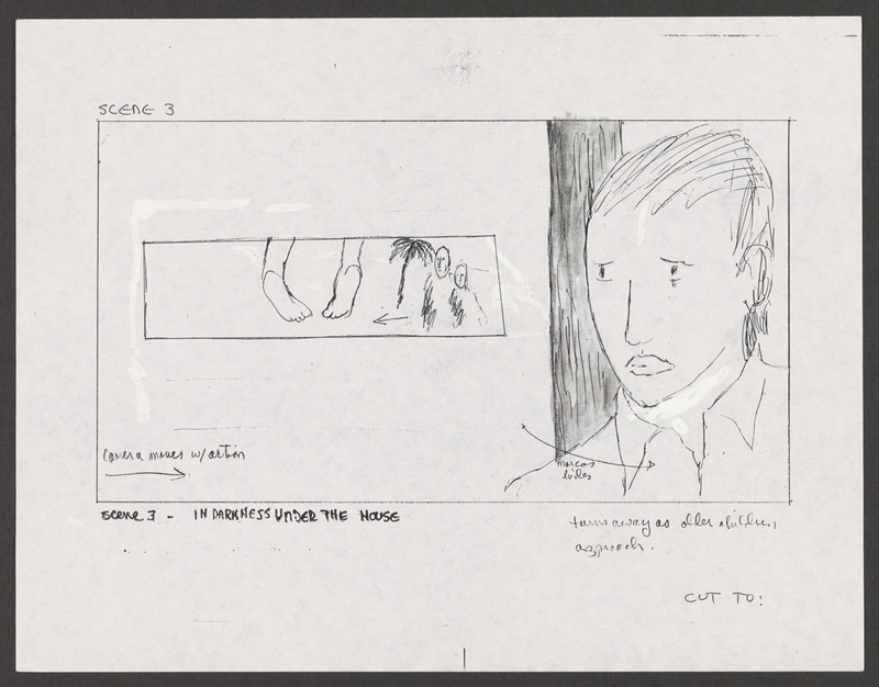 Severo Perez&#039;s storyboard for the &quot;under the house&quot; scene. <br /><br /> Severo Perez Papers, Wittliff Collections, Texas State University.
