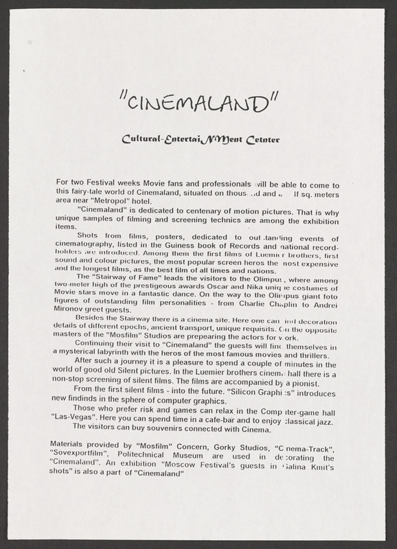 Press release, Moscow Film Festival. <br /><br /> Severo Perez Papers, Wittliff Collections, Texas State University.
