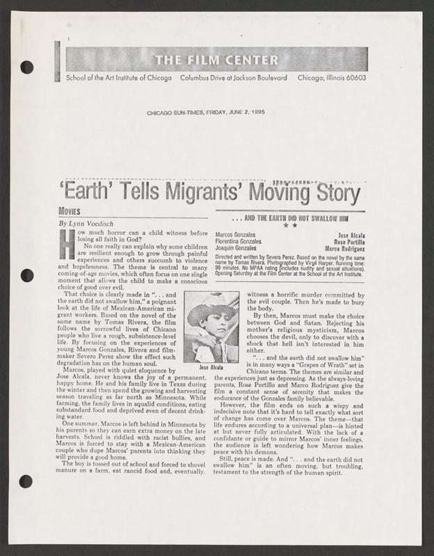 Chicago Sun-Times review. <br /><br /> Severo Perez Papers, Wittliff Collections, Texas State University.
