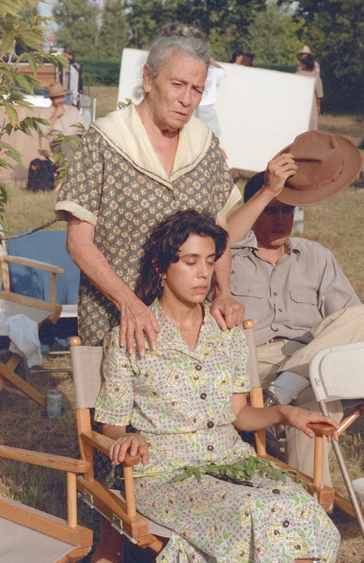 Angie Torres (Dona Cuquita) with Rose Portillo on the set.<br /><br /> Photograph by Carlos Rene Perez. Severo Perez Papers, Wittliff Collections, Texas State University.