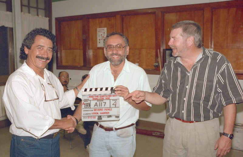 Director of Photography Virgil Harper, at right, with Writer/Director/Co-Producer Severo Perez, left, and Producer Paul Espinosa, center. <br /><br /> Severo Perez Papers, Wittliff Collections, Texas State University.
