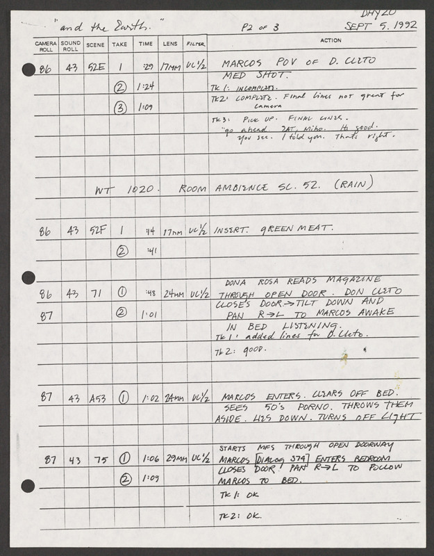 Code Book: day 20, Sept 5, 1992. This form used in the editing process lists the various takes with the action, camera roll, and time. <br /><br /> Severo Perez Papers, Wittliff Collections, Texas State University.