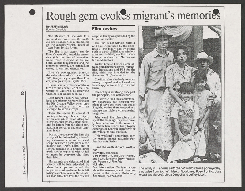 Houston Chronicle review. <br /><br /> Severo Perez Papers, Wittliff Collections, Texas State University.
