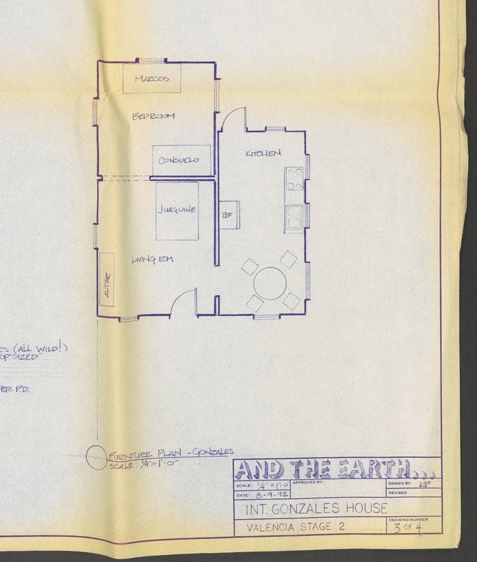 Set design: blueprint/furniture plan for the Gonzales family home. <br /><br /> Severo Perez Papers, Wittliff Collections, Texas State University.