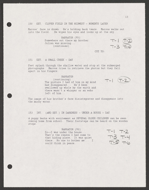 Severo Perez&#039;s annotated shooting script, containing his notes on various takes during the filming. <br /><br />