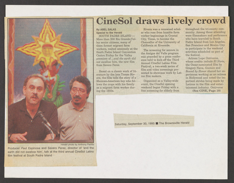 Article on the film screening at the Cinesol festival. <br /><br /> Severo Perez Papers, Wittliff Collections, Texas State University.