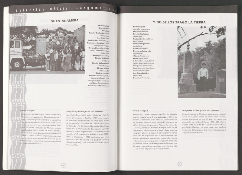 The listing for &quot;...and the earth did not swallow him&quot; in the Chilean International Film Festival program. <br /><br /> Severo Perez Papers, Wittliff Collections, Texas State University.