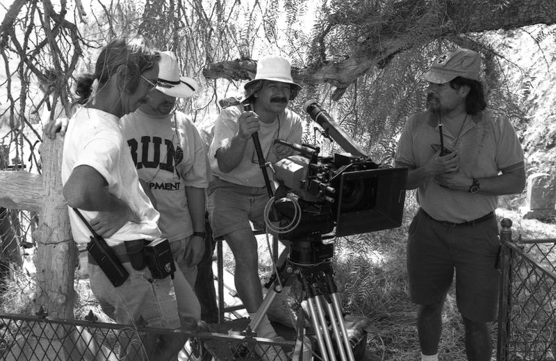 Severo Perez at the camera. Also pictured (left to right): Ron Sill (Gaffer), Virgil Harper (Director of Photography), John Acevedo (Assistant Director.) &lt;br /&gt;<br />