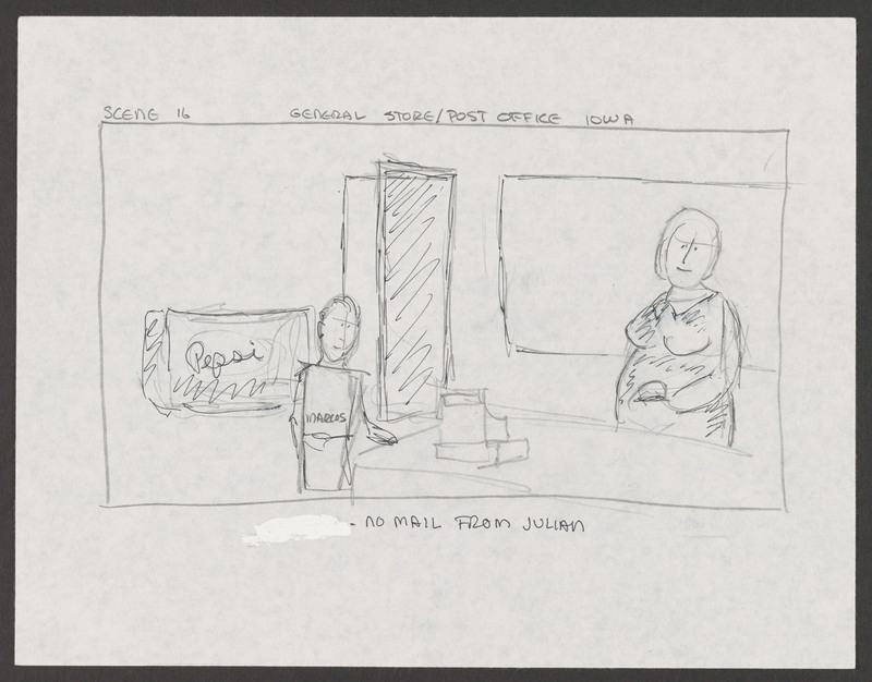 "Storyboard created by writer/director Severo Perez for ""...and the earth did not swallow him."" Severo Perez Papers, Wittliff Collections, Texas State University."