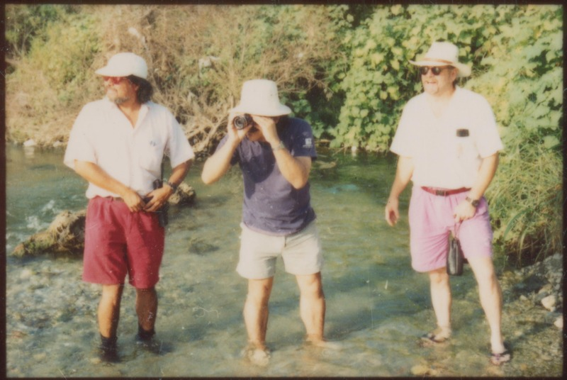 Location scouting. Left to right: Assistant Director John Acevedo, Writer/Director Severo Perez, Director of Photography Virgil Harper. <br /><br /> Photograph by Carlos Rene Perez. Severo Perez Papers, Wittliff Collections, Texas State University.