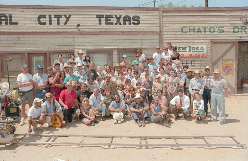 Cast and crew on the set in Piru, California, 1992. <br /><br /> Photograph by Carlos Rene Perez. Severo Perez Papers, Wittliff Collections, Texas State University.