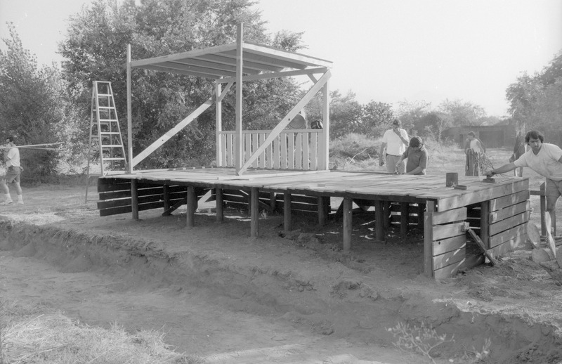 Set for the &quot;under the house&quot; scene. <br /><br /> Photograph by Carlos Rene Perez. Severo Perez Papers, Wittliff Collections, Texas State University.