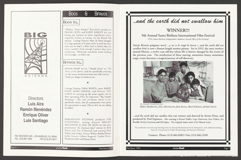 Advertisement noting &quot;...and the earth did not swallow him&quot; won the &quot;Best of the Festival&quot; audience award at the Santa Barbara International Film Festival. <br /><br /> Severo Perez Papers, Wittliff Collections, Texas State University.