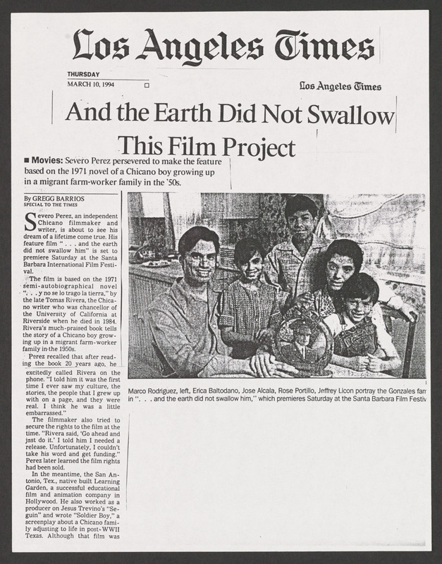 Los Angeles Times review. <br /><br /> Severo Perez Papers, Wittliff Collections, Texas State University.