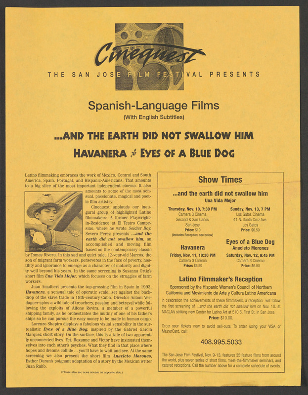 Flyer for a screening at the San José Film Festival. <br /><br /> Severo Perez Papers, Wittliff Collections, Texas State University.