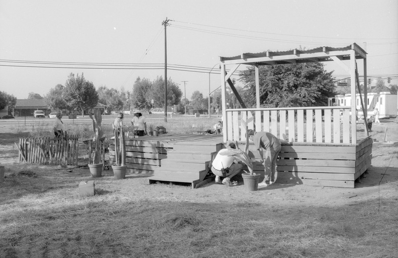 Production crew preparing to film the &quot;under the house&quot; scene. <br /><br /> Photograph by Carlos Rene Perez. Severo Perez Papers, Wittliff Collections, Texas State University.
