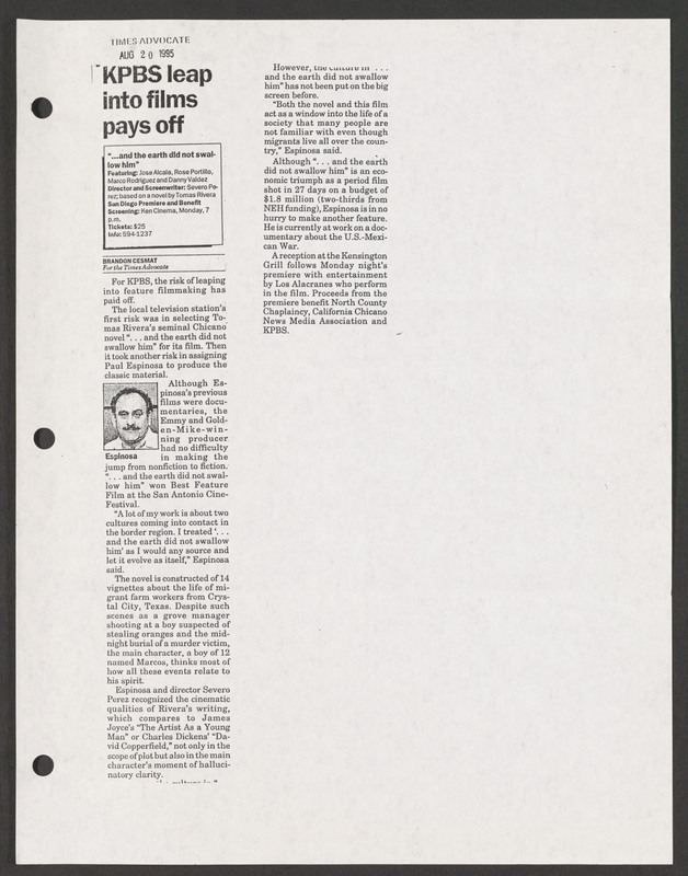 Times Advocate review. <br /><br /> Severo Perez Papers, Wittliff Collections, Texas State University.