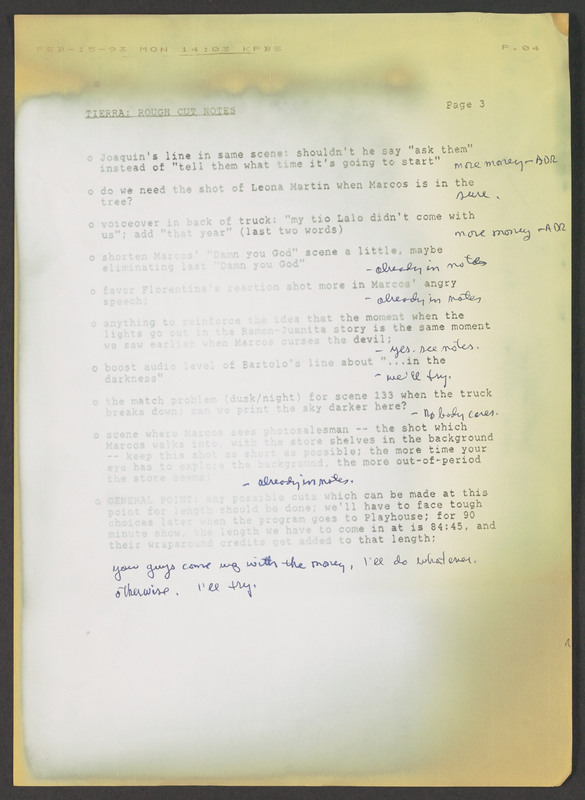 Rough cut notes, used for editing. <br /><br /> Severo Perez Papers, Wittliff Collections, Texas State University.