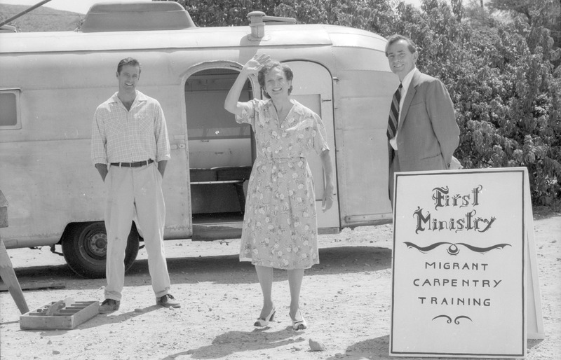 Virginia Morris as the Pastor&#039;s wife, flanked by James Courtney (left) as the carpenter and J. Frank Stewart as the pastor. <br /><br /> Photograph by Carlos Rene Perez. Severo Perez Papers, Wittliff Collections, Texas State University.