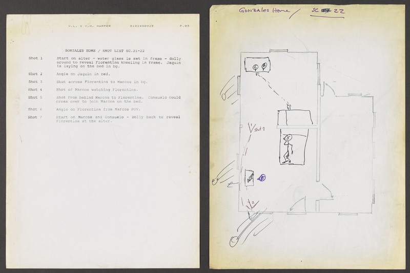 Severo Perez&#039;s shot list for scenes 21-22, inside the Gonzales family home. <br /><br /> Severo Perez Papers, Wittliff Collections, Texas State University.