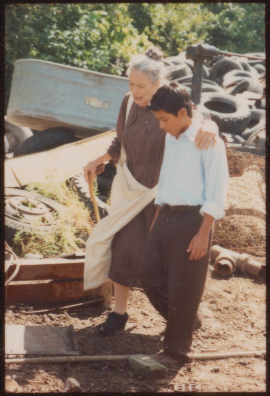 Marcos (José Alcala) walks with Doña Cuquita (Angie Torres.)<br /><br /> Photograph by Carlos Rene Perez. Severo Perez Papers, Wittliff Collections, Texas State University.