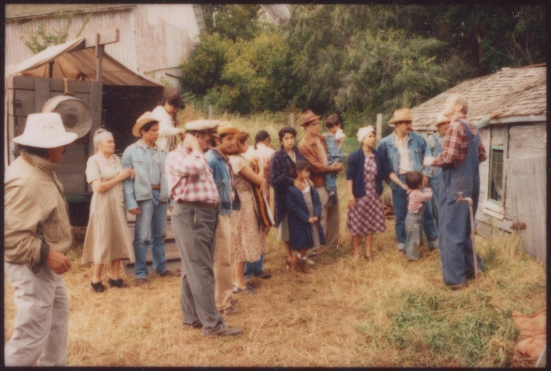 The actors portraying migrant farmworkers confront the squalid housing as Director Severo Perez looks on. &lt;br /&gt;<br />