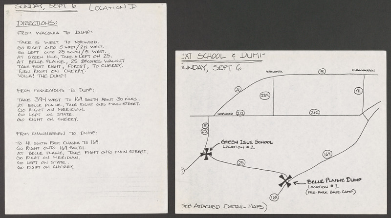 Minnesota location map for filming on Sunday, September 6, 1992--which includes the &amp;quot;Town Dump&amp;quot; scene with Doña Cuquita and Marcos.&lt;br /&gt;<br />