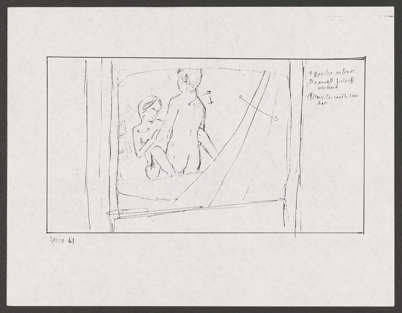 Severo Perez&#039;s storyboard as Marcos sees the couple having sex. <br /><br /> Severo Perez Papers, Wittliff Collections, Texas State University.