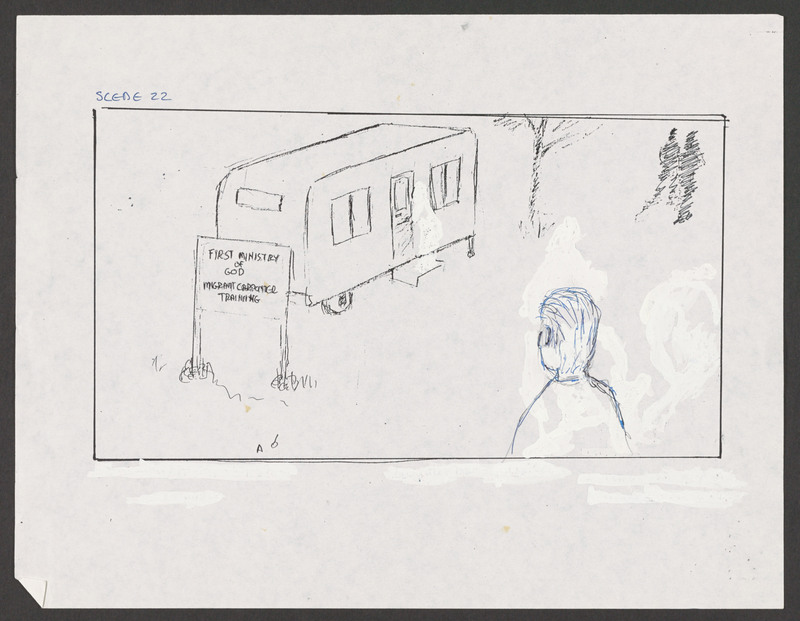 Severo Perez&#039;s storyboard as Marcos approaches the carpenter&#039;s trailer. <br /><br /> Severo Perez Papers, Wittliff Collections, Texas State University.