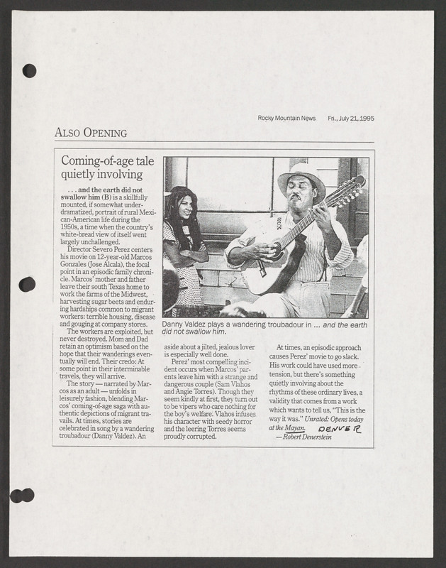 Rocky Mountain News review. <br /><br /> Severo Perez Papers, Wittliff Collections, Texas State University.