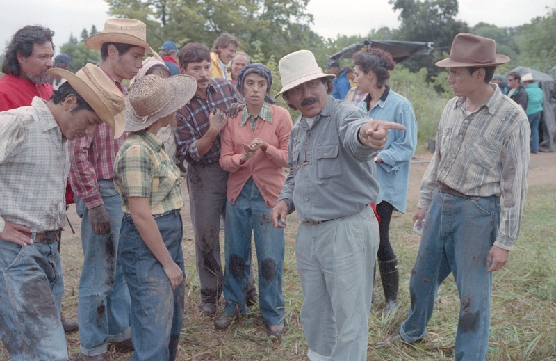 Severo Perez directing on the set. <br /><br /> Photograph by Carlos Rene Perez. Severo Perez Papers, Wittliff Collections, Texas State University.