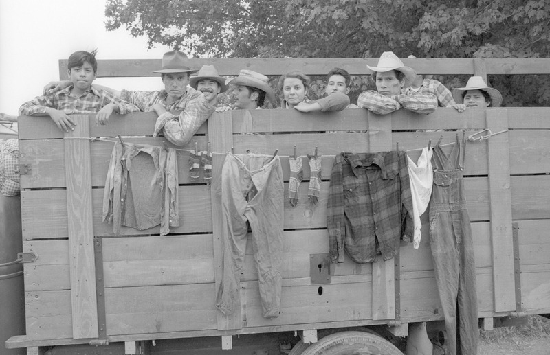 Marco Rodriguez as Joaquin, second from left, on the truck during the filming of &quot;...and the earth did not swallow him.&quot; <br /><br /> Photograph by Carlos Rene Perez. Severo Perez Papers, Wittliff Collections, Texas State University.