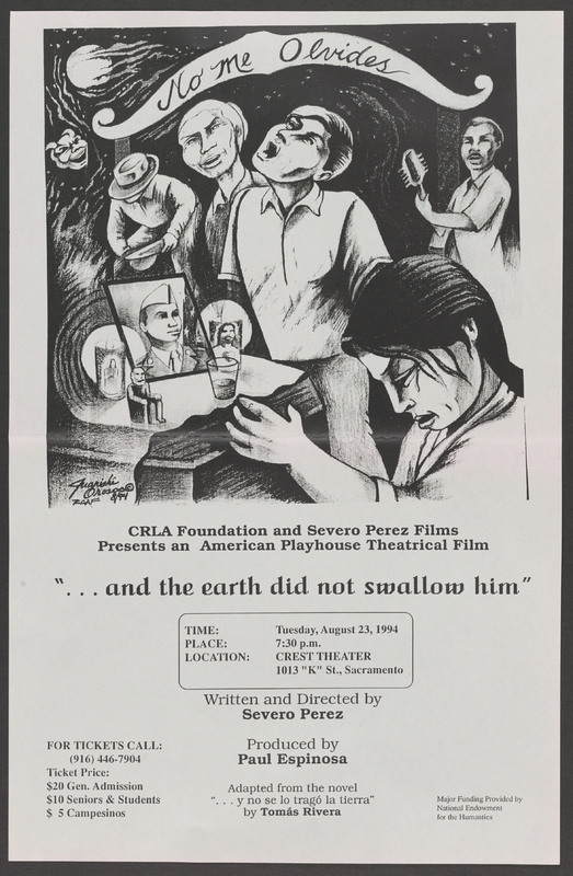 Flyer for a screening in Sacramento. <br /><br /> Severo Perez Papers, Wittliff Collections, Texas State University.