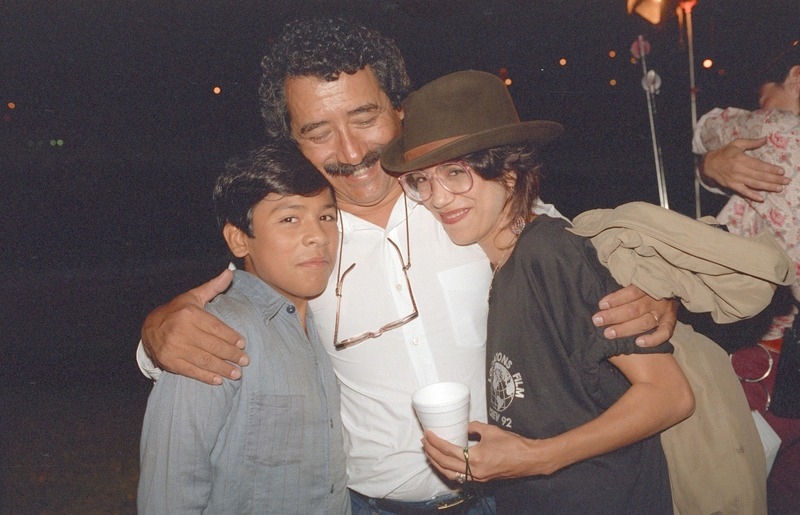 Severo Perez with José Alcala and Rose Portillo at the wrap party, September 13, 1992. <br /><br />