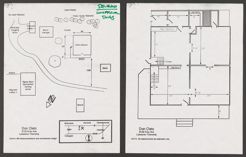 Set design for Don Cleto&#039;s and Doña Rosa&#039;s house and grounds. <br /><br />