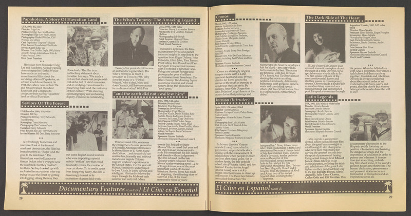 Inside listing for &quot;...and the earth did not swallow him&quot; from the program for the Santa Barbara International Film Festival. <br /><br /> Severo Perez Papers, Wittliff Collections, Texas State University.