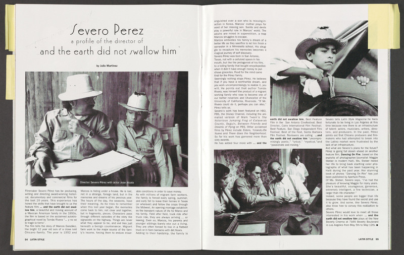 Story on Severo Perez in Latin Style magazine. <br /><br /> Severo Perez Papers, Wittliff Collections, Texas State University.