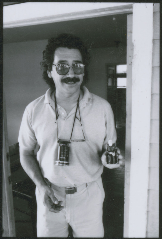 Severo Perez preparing to go on a location scout. <br /><br /> Photograph by Carlos Rene Perez. Severo Perez Papers, Wittliff Collections, Texas State University.