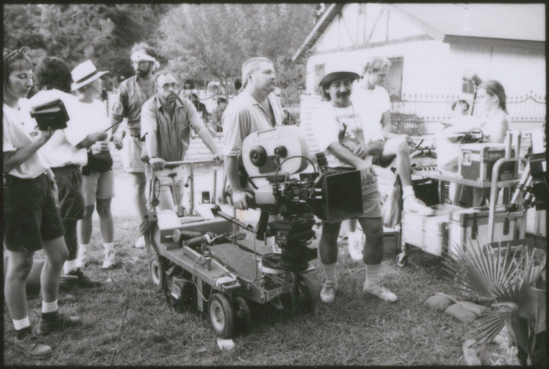 Director of Photography Virgil Harper behind the camera, with Writer/Director/Co-Producer Severo Perez on the right. <br /><br /> Severo Perez Papers, Wittliff Collections, Texas State University.