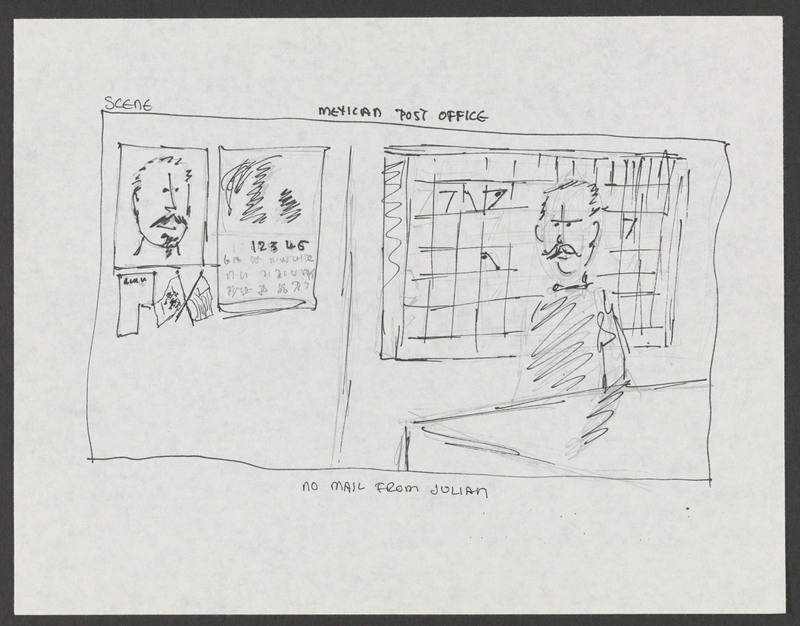 Storyboard created by writer/director Severo Perez for &quot;...and the earth did not swallow him.&quot; <br /><br /> Severo Perez Papers, Wittliff Collections, Texas State University.