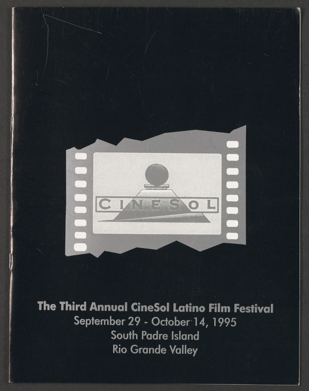 Cover of the official program for the Cinesol Latino film Festival. <br /><br /> Severo Perez Papers, Wittliff Collections, Texas State University.