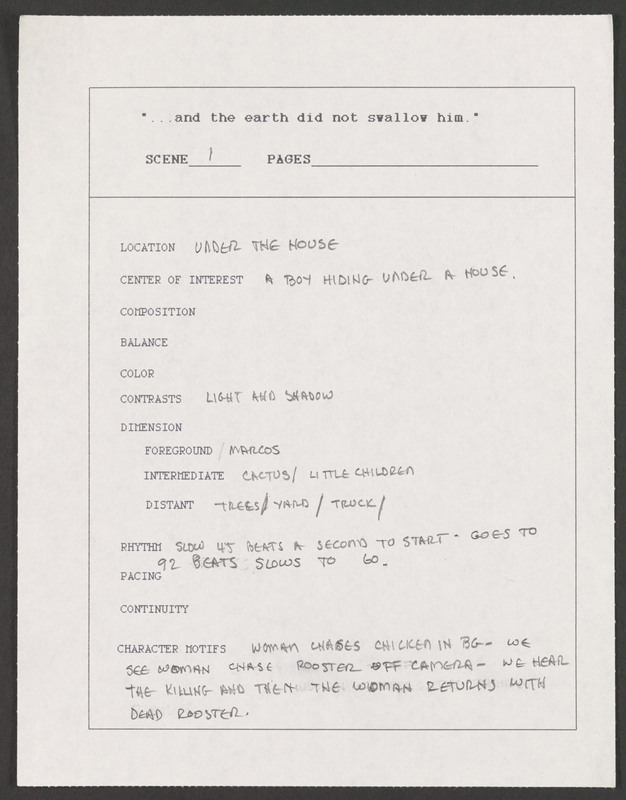 Production memo for the &quot;under the house&quot; scene. <br /><br /> Severo Perez Papers, Wittliff Collections, Texas State University.