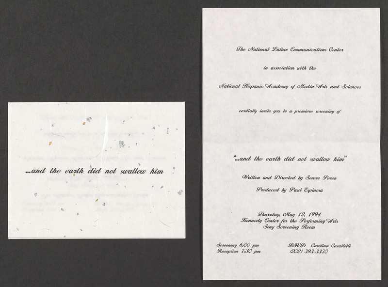 Invitation to the Kennedy Center screening of &quot;...and the earth did not swallow him.&quot; <br /><br /> Severo Perez Papers, Wittliff Collections, Texas State University.