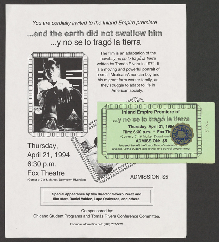Riverside, California premiere of the film, along with a ticket and promotional flyer. <br /><br /> Severo Perez Papers, Wittliff Collections, Texas State University.